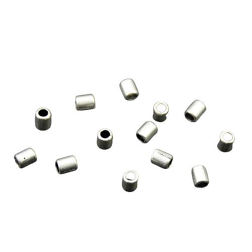 10 perles cylindriques en métal argenté 4x3mm