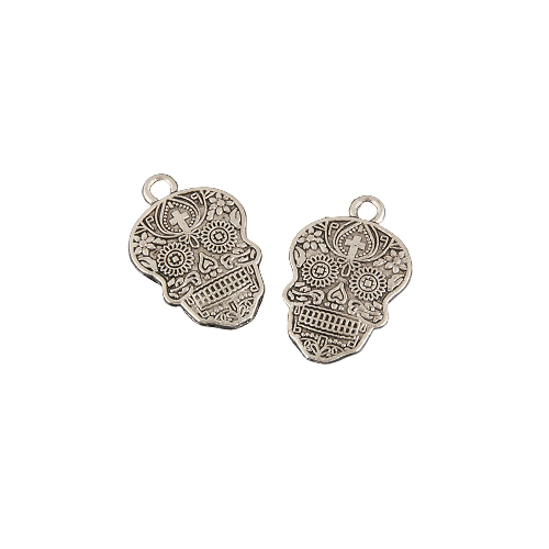 2 breloques calavera mexicaine gravées en métal argenté 22,5x15mm