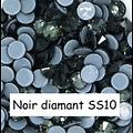 100 strass hotfix à facettes Noir Diamant - 2,7-2,9mm/SS10
