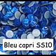 100 strass hotfix à facettes Bleu Capri - 2,7-2,9mm/SS10