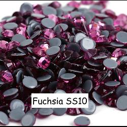 100 strass hotfix à facettes Fuchsia - 2,7-2,9mm/SS10