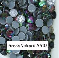 100 strass hotfix à facettes Volcano Green - 2,7-2,9mm/SS10