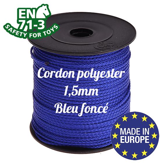 Fil / Cordon / Cordelette polyester pour attache-tétine 1,5mm - BLEU FONCÉ