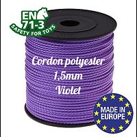 Fil / Cordon / Cordelette polyester pour attache-tétine 1,5mm - VIOLET