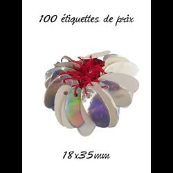 100 étiquettes de prix ovales irisées / ficelle rouge 18x35mm