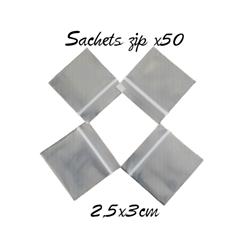 Sachets plastique à bandes blanches à fermeture zip 2,5x3cm