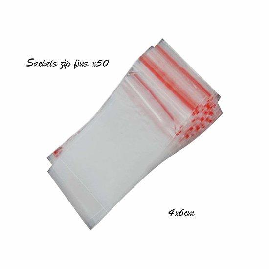 Sachets plastique fins à fermeture Zip 4x6cm
