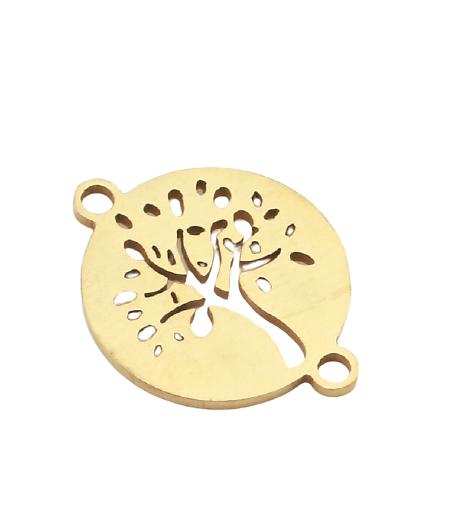 Connecteur rond arbre de vie en acier inoxydable doré 19x15mm