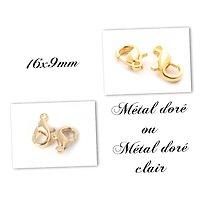 5 fermoirs mousqueton en métal doré / métal doré clair 16x9mm