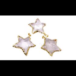 Grand pendentif étoile en cristal et serti plaqué or 14k