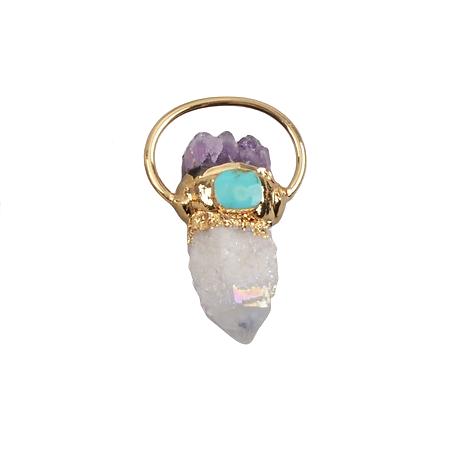 Grand pendentif cristal de roche, améthyste et turquoise et serti plaqué or 14K