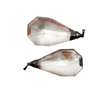 Grand pendentif goutte de cristal à facettes et serti en métal anthracite