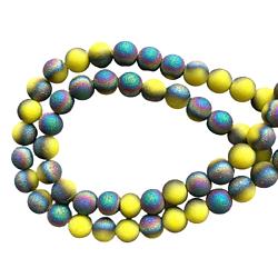"""10 perles rondes en verre """"givré"""" dépoli jaune/pétrole"""
