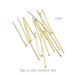 10 tiges à tête plate en acier inoxydable doré 35mm