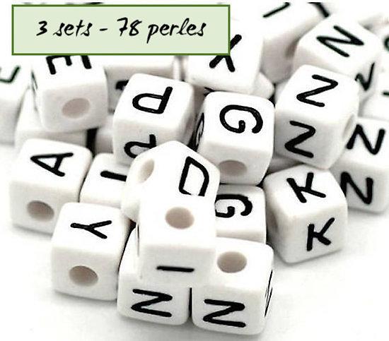 Perles alphabet - 3 sets - 78 perles en acrylique 10mm
