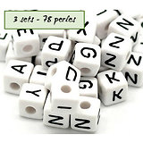 Perles alphabet - 3 sets - 78 perles en acrylique 10mm