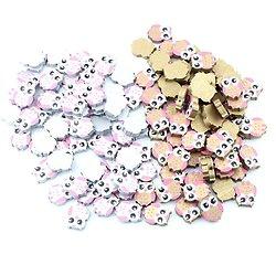 Perle chouette en bois peint 21x17mm