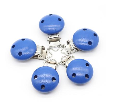 Clip en métal et bois bleu roi pour attache-tétine 29x46mm