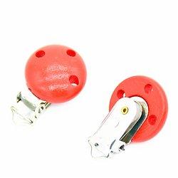 Clip en métal et bois rouge pour attache-tétine 29x46mm