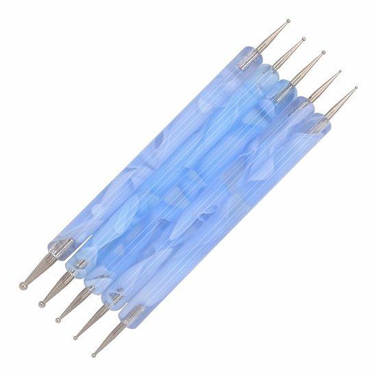Pochette de 5 mirettes / dotting tools / embossoirs manches bleu/blanc marbré