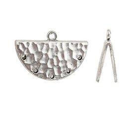 2 embouts demi-lune pour pompon / ruban / cordon en métal argenté martelé 28x18mm