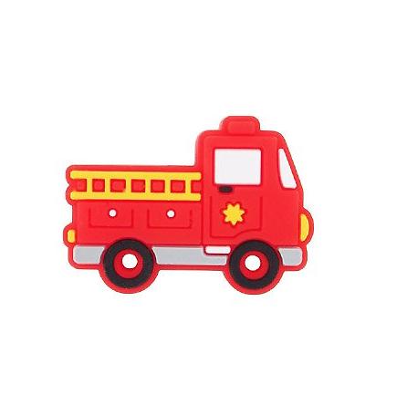 Perle camion de pompier en silicone alimentaire sans BPA 30x21mm