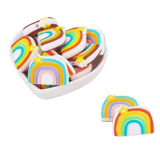 Perle arc-en-ciel en silicone alimentaire sans BPA 34x20mm