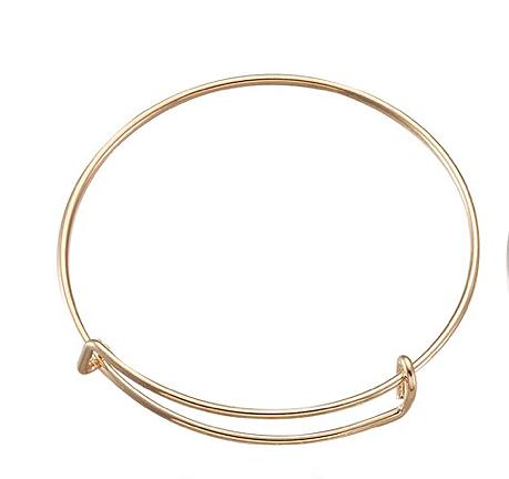Support de bracelet bangle ajustable en métal doré 65mm