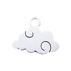 Breloque nuage en acier inoxydable argenté 9x12mm