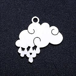 Breloque nuage/pluie en acier inoxydable argenté 15x18mm
