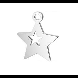 Breloque étoile double acier inoxydable argenté 14x12mm