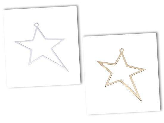 Grande breloque étoile évidée en acier inoxydable 30x33mm