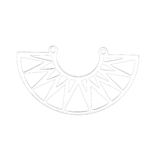 Connecteur arc de cercle et motifs géométriques en acier inoxydable argenté 22x39mm