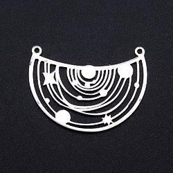 Connecteur demi-cercle et constellations en acier inoxydable argenté 25x34mm