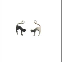 2 breloques chat en métal argenté massif 19x14mm