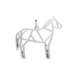 Breloque cheval en origami acier inoxydable argenté 25x30mm