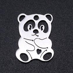 Breloque panda en acier inoxydable argenté 12x16mm