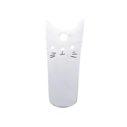 Breloque chat stylisé en acier inoxydable argenté 20x8mm