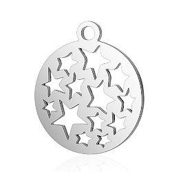 Breloque rondes aux étoiles en acier inoxydable argenté 14x16mm