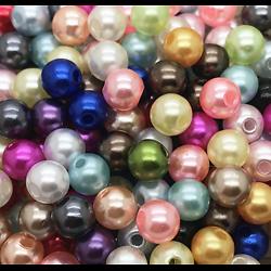15 petites perles rondes nacrées multicolores en acrylique 4mm