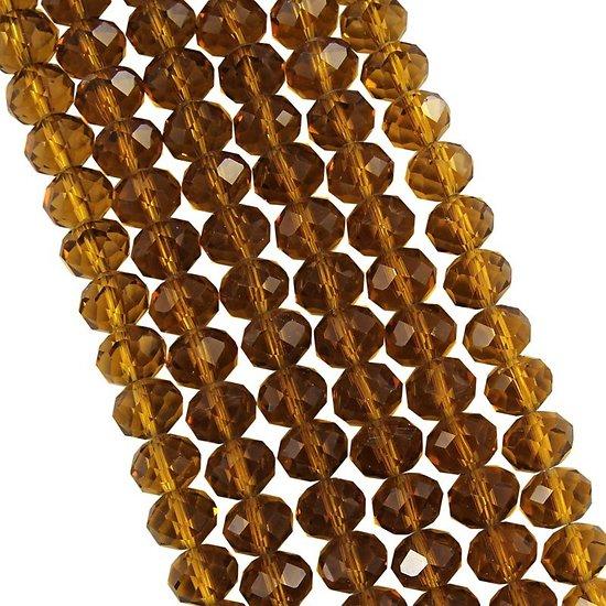 10 perles rondes en cristal de Bohème à facettes ambre 8mm