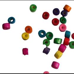 50 perles rondelles en bois multicolore 4mm