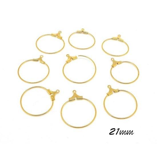 2 anneaux de créoles en métal doré 21mm