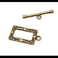 Fermoir toggle rectangle en métal couleur bronze