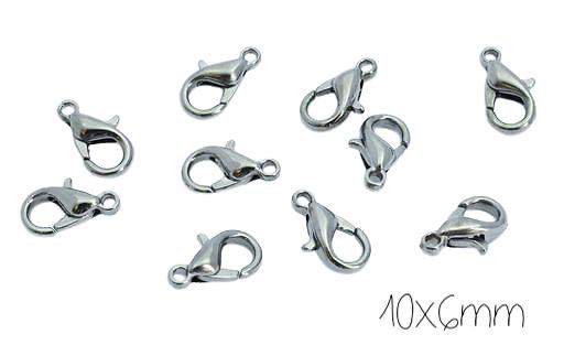 5 fermoirs mousqueton en métal argenté couleur acier 10x6mm