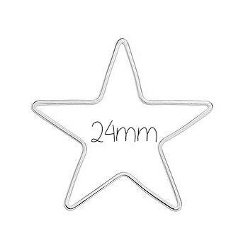 Anneau étoile connecteur fin en métal argenté 24mm