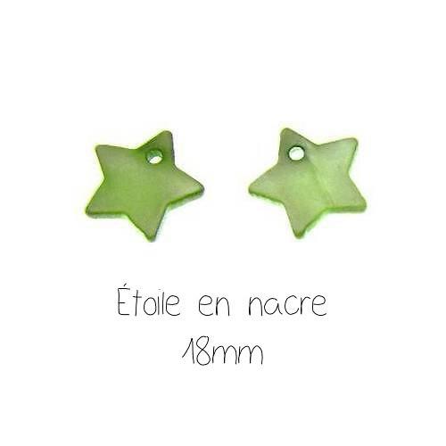 6 breloques étoile en nacre verte 18mm