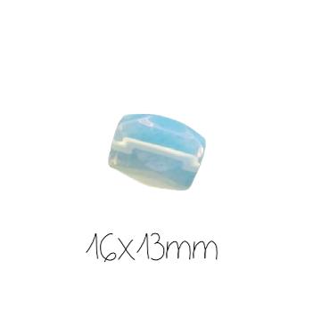 Grosse perle tambour à facettes en opaline 16x13mm