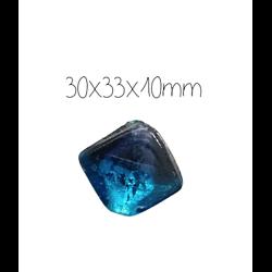 Grosse perle artisanale indienne losange en pâte de verre bleu et argent 30x33x10mm