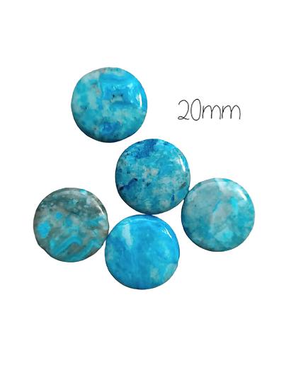 5 perles palets en pierre bleue 20x6mm